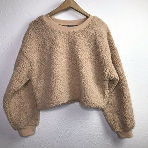 Wild Fable Teddy Bear Cropped Fuzzy Sweater Brown